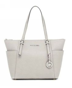MICHAEL Michael Kors Jet Set Zip-top Tote Pearl Gray Leather with Pearl Gray Leather Handles - Discount website Michael Kors Jet Set, Michael Kors Outlet, Grey Leather, Leather Handle, Cheap Clothes Online, New Handbags, Online Clothing Boutiques, Discount Clothing, Cute Bags