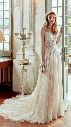 nicole spose bridal 2017 cap sleeves illusion sweetheart aline wedding dress…