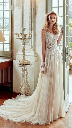 nicole spose bridal 2017 cap sleeves illusion sweetheart aline wedding dress (niab17080) fv train