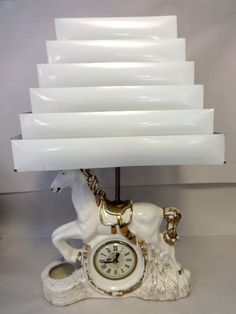 Mid Century Horse Lamp with Clock & Collapsible Venetian Shade