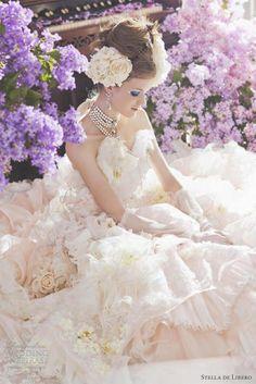 "Stella de Libero Wedding Dress  Pale peach ruffled ball gown fromStella de Libero""The Lilac"" bridal collection."