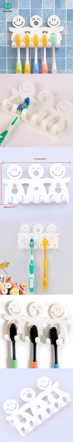 Cute Bathroom Sets Cartoon Sucker Suction Hooks 5 Position Toothbrush Holder Eco-Friendly Funny Smiling Face Toothbrush Stand