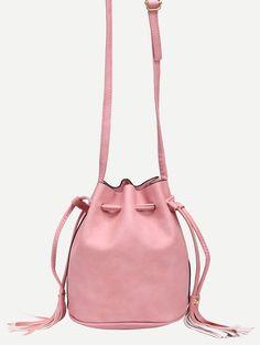 Tassel Drawstring Bucket Bag - Pink Large Bucket 4938f8fadfa