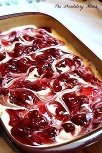 Cherry Cheesecake Surprise Layered Dessert I got this recipe years ago from a friend of mine. I remember thinking that it looked so complicated and tasted so decadent. I was ver. Cherry Desserts, Layered Desserts, Cherry Recipes, Easy Desserts, Pudding Desserts, Cherry Cake, Cherry Cheescake, Cherry Delight Dessert, Cherry Swirl Cheesecake Recipe