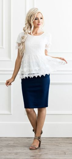 A beautiful white tulle top. Pair it with your favorite skirt for an amazing outfit! Black Skirt Outfits, Skirt Outfits Modest, Pencil Skirt Outfits, Modest Skirts, Cute Outfits, Navy Skirt Outfit, Church Outfit Summer, Church Outfits, The Dress
