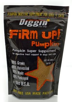 """Diggin' Your Dog Firm Up Pumpkin Super Supplement for Digestive Tract Health for Dogs, 4-Ounce. Can be fed wet or dry To feed dry simply add one dose to feedings once a day. One 4oz bag will mix with water to make over 35oz of supplement. Use what you need when you need it. Firm Up. was created because we """"dig"""" your pet. and your carpet. Pumpkin + Apple Fiber for digestive support in dogs and cats. Great for travel. Convenient reseal able USA made packaging."""