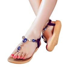 Shien(TM) Summer Bohemia Sweet Beaded Sandals Clip Toe Sandals Beach Shoes ** More info could be found at the image url.
