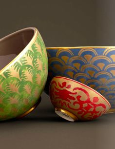 Fortuny textiles on chinaware