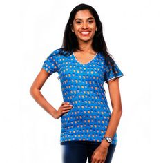 Everyone's favourite cup of happiness. We Indians simply can't get enough of it: be it dipped with Parle-G in blazing summer or gratefully cupped in your palms in winter at the local chai kadai. Our awesome chai pattern is all about the different cups of. To buy this visit http://www.chumbak.com/apparel/tshirts-tops/womens/chai-glass-women-blue-top.html