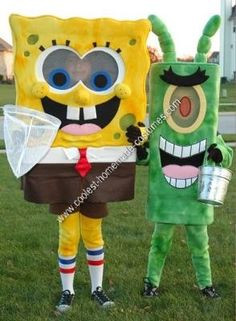 Homemade SpongeBob and Plankton Couple Costume. Theses took a while to make but was so much fun! They were a huge hit with my kiddos friends