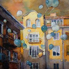 Чудесные воздушные шары от болгарской художницы Kalina Toneva.