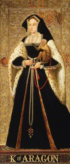 Katherine of Aragon [w MONKEY] By Richard Burchett  Oil on panel, 1850s