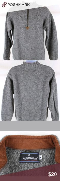 """VTG EARLY WINTERS Gray Textured Sweater EARLY WINTERS Mens Gray Textured 1/2 Zip Sweater  This is a vintage sweater form the Portland Oregon Co., Early Winters. It is a textured, knit with a 1/2 zip that zips up into a mock turtleneck.  Sweater is 100% wool and in excellent, gently pre-loved condition.  Size Medium - 100% Wool  Measurements:  21.5"""" - pit to pit  27.5"""" - shoulder to bot totom of sweater Early Winters Sweaters"""