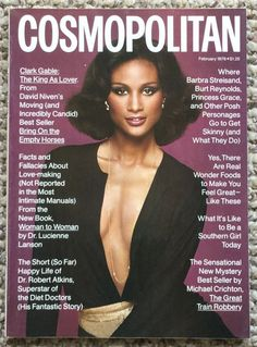 Cosmopolitan magazine, FEBRUARY 1976 Model: Beverly Johnson Photographer: Francesco Scavullo Helen Gurley Brown, My Magazine, Magazine Covers, Francesco Scavullo, Janice Dickinson, Rene Russo, Female Pleasure, Beverly Johnson, David Niven