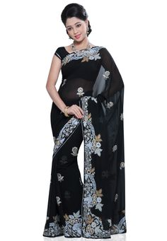 #Black Faux Georgette #Saree with #Blouse @ $101.33