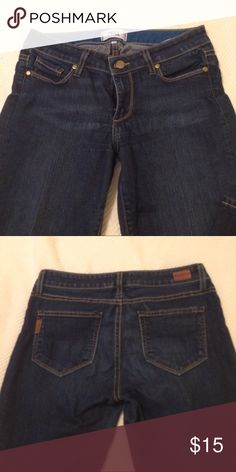 Paige Skyline Boot Petite Beautiful dark wash, soft jeans. Awesome condition except some wear near crotch and some pulling near zipper (not noticeable when on). Paige Jeans Jeans Boot Cut