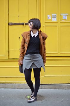 short bob with bangs (and a super cute outfit)