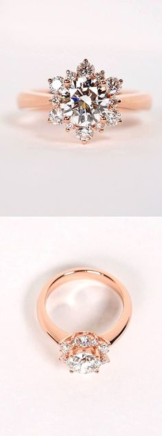 Beautiful rose gold engagement ring inspired by a snowflake Facebook and Instagram: The Wedding Scoop: