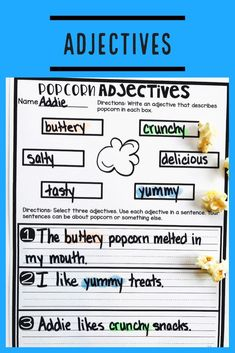 Teach students to use frequently occurring adjectives with this engaging hands-on resource. This bundle is full of activities including eight days of mini lessons, anchor charts, partner games, interactive notebook pages, task cards, a board game, and a quick assessment. This is a complete hands-on mini unit that will add fun and excitement to your classroom. #HollieGriffithTeaches #Adjectives #HandsOnReading #ClassroomFun #TeacherResources #InteractiveNotebook