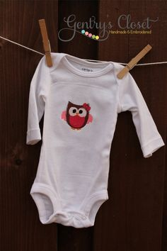 Baby Girl Pink Owl onesie  Long sleeve infant by gentryscloset, $20.00
