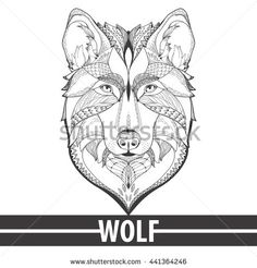 Vector hand drawn zentagle illustration of wolf. antistress Coloring page with high details isolated on white background. Boho style. Design for T-shirt, greeting card or poster, tatto,
