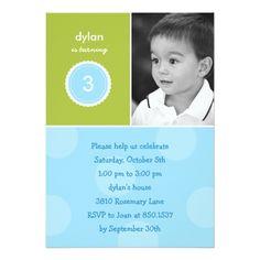 Photo Card Birthday Invitation Delightful Dots Photo Birthday Invitation (Turquoi