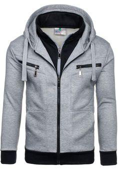 Szara bluza męska z kapturem Denley 7608 | sklep internetowy z odzieżą i obuwiem www.denley.pl