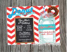 Donut Birthday party Invitation, Breakfast themed party, Invitaiton, DIY, Printable