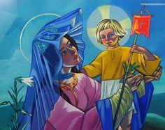 """The Virgin and Child"" by Zofia Stryjenska Modernism, Poland, Oil On Canvas, Modern Art, Decoupage, Folk, Child, Artists, Retro"