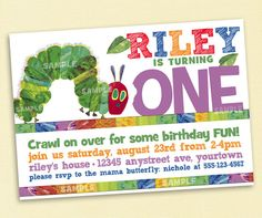 Very Hungry Caterpillar Invitation for Birthday Party - Printable File on Etsy, $9.99