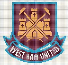 Buzy Bobbins: West Ham United logo - Football themed cross stitch design