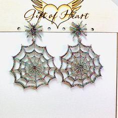 Spider Cobweb Acrylic Earrings Glitter Halloween Statement | Etsy Wood Earrings, Unique Earrings, Statement Earrings, Glitter Bomb, Black Glitter, Spider Earrings, Glitter Acrylics, Halloween Earrings, Holiday Jewelry