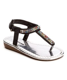 Look at this Black Rhinestone Shimmer Sandal on #zulily today!