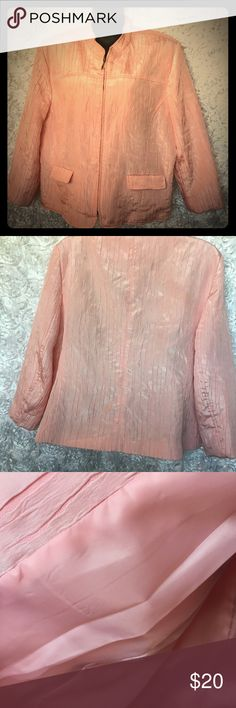 Alfred Dunner Pink Jacket Plus Size 20 Alfred Dunner Size 20 Textured Zipper Long Sleeve Pink Jacket Plus Size  From a smoke free Pet Free Home Alfred Dunner Jackets & Coats