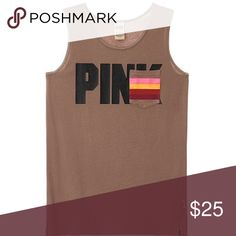 "🔹1 left🔹PINK Campus Tank Victoria's Secret PINK campus tank. New in online packaging. Brown with black ""PINK"" logo. Breast pocket has a striped pattern with 4 different pops of color to top of a great tank!! Only one in each size available!! Get it or regret it!! ❤️ PINK Victoria's Secret Tops Tank Tops"