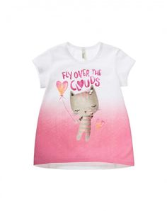 100% organic cotton flared crew neck t-shirt, fresh and comfortable fiber whose peculiarity lies in the cultivations and processing with low environmental impact. Short sleeves and faded print with mascot on the front. Featuring ribbon on the front and ribbed knit neck.