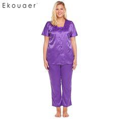 3ff53499f64 Skill Pajamas Women Short Sleeve Button Front Tops   Pants Satin Pajama Set  Casual Loose Sleepwear