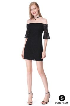 Only $39, Black Off-The-Shoulder Sleeveless Short Lace Dress #AS05629BK at #SheProm. SheProm is an online store with thousands of dresses, range from Homecoming,Party,Club,Black,Black Lace Dresses,Little Black Dresses,Bodycon Dresses,Short Dresses,Off the Shoulder Dresses and so on. Not only selling formal dresses, more and more trendy dress styles will be updated daily to our store. With low price and high quality guaranteed, you will definitely like shopping from us.