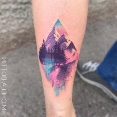 mens hip tattoos, mountain landscape, back of leg tattoo mountain tattoo ▷ 1001 + ideas for a beautiful watercolor tattoo you can steal Finger Tattoos, Body Art Tattoos, New Tattoos, Small Tattoos, Tattoos For Guys, Tatoos, Water Tattoos, Mens Hip Tattoos, Back Of Leg Tattoos