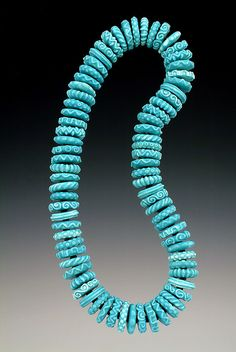"Turquoise Disc Necklace by Miller Porcelain, via Flickr   I like this ""bead"" idea for polymer clay as well,"