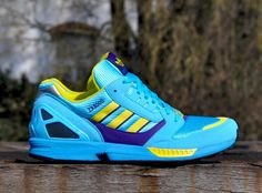 """The original """"Aqua"""" colorway of the adidas Originals ZX 8000 is back this season in a limited release. The colorway and sneaker, which dates back to 1988 l Zx Adidas, Adidas Zx 8000, Adidas Shoes, Adidas Classic Shoes, Adidas Tubular Nova, Cool Trainers, Adidas Originals Zx Flux, Winter Boots, Running Shoes"""