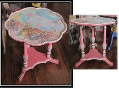 Vintage Pie-Shaped Side Table $65 - Bowmanville http://furnishly.com/vintage-pie-shaped-side-table.html