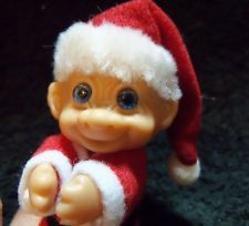 "Troll, Santa Claus Christmas Troll, Blue-eyed, Smiling, Made in Korea, 3"" tall"