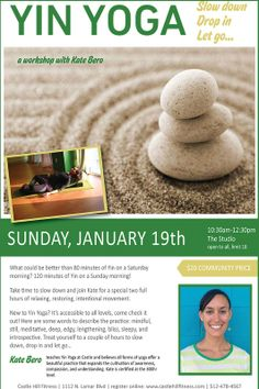 Tarrytown, TX Take time to slow down and join Kate for a special two full hours of relaxing, restoring, intentional movement. New to Yin Yoga? It's accessible to all levels, come check it out!   Here are s… Click flyer for more >>