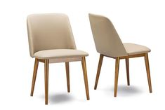 Baxton Studio Lavin Walnut Brown/Beige Faux Leather Dining Chair - Set of 2