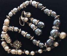 Beautiful Vintage Miriam Haskell Necklace Earrings Set~Grey/Cream Baroque Pearls