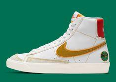 Green Leather, White Leather, High Top Sneakers, Sneakers Nike, Sneaker Art, Nike Basketball Shoes, Nike Air Force, Footwear, Blazer