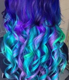 Purple blue dyed hair