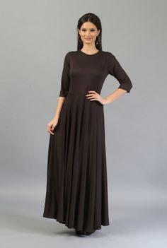 Rochie lunga maro R044 -MM -  Ama Fashion