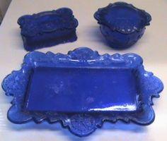Vintage Cobalt Blue Glass Dresser Vanity 3 Piece Set